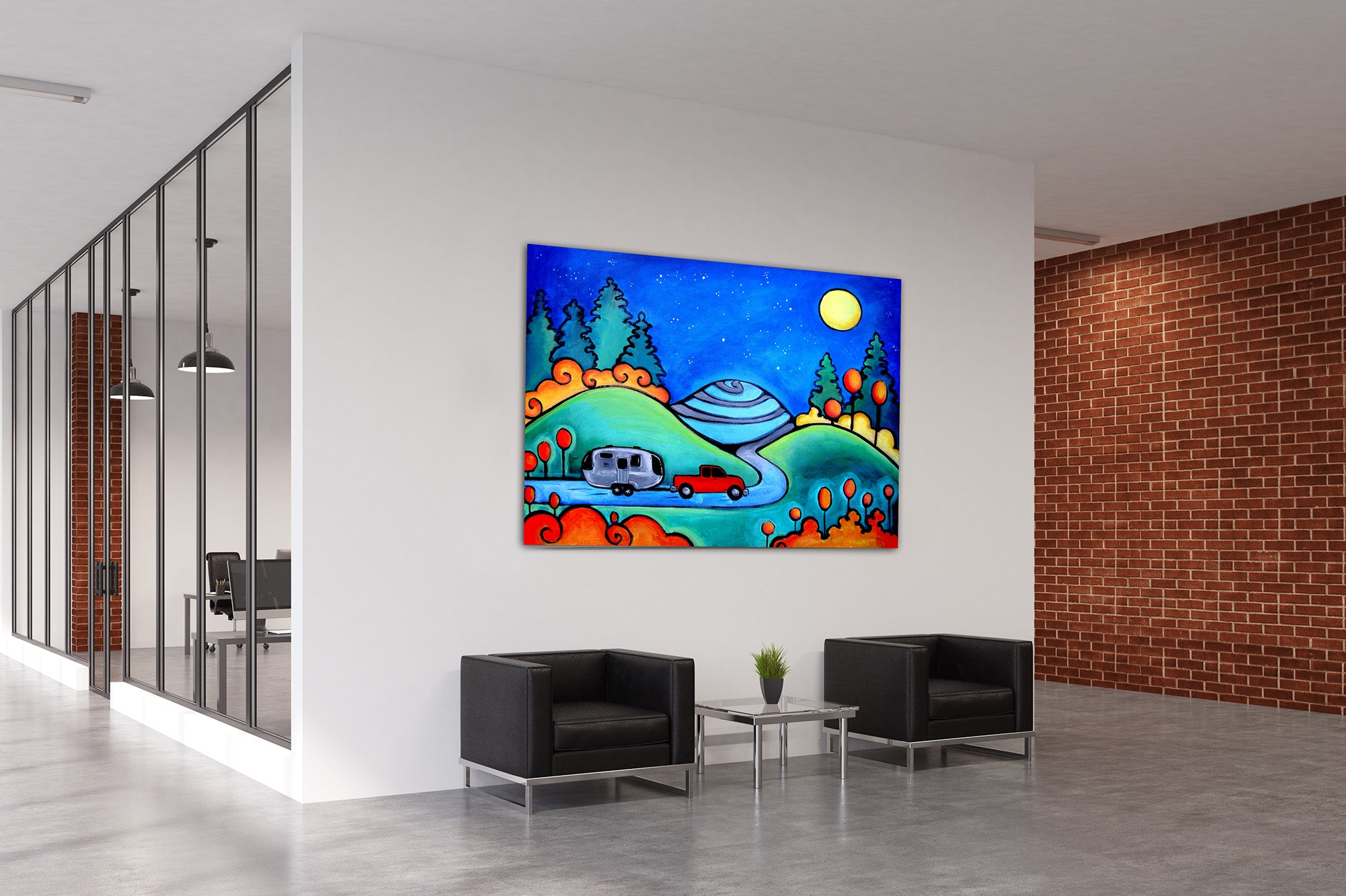 colorful whimsical nature art corporate hospital clinic wall