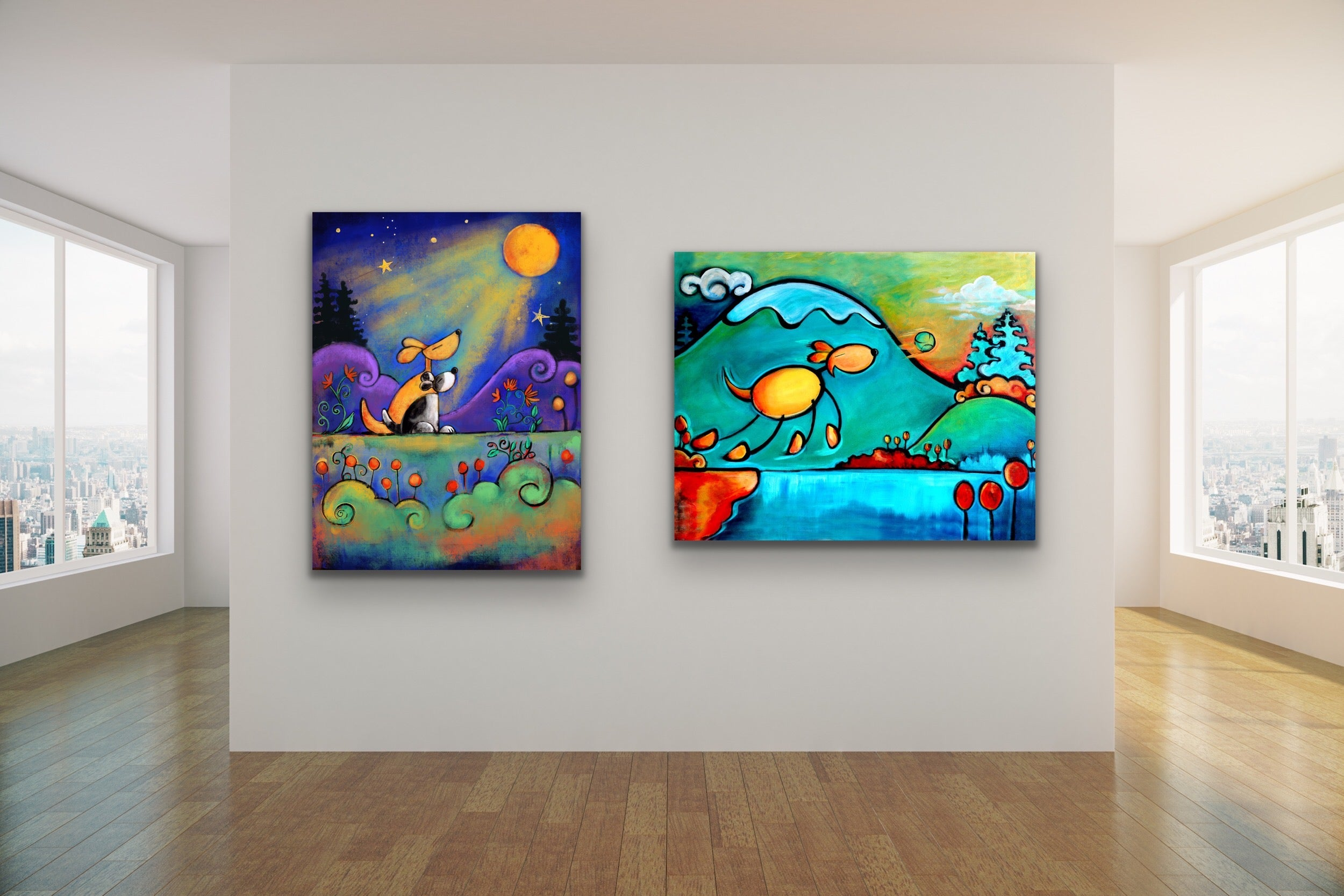 No place I would rather be two dogs moon art noelle dass  childrens kids art wall decor