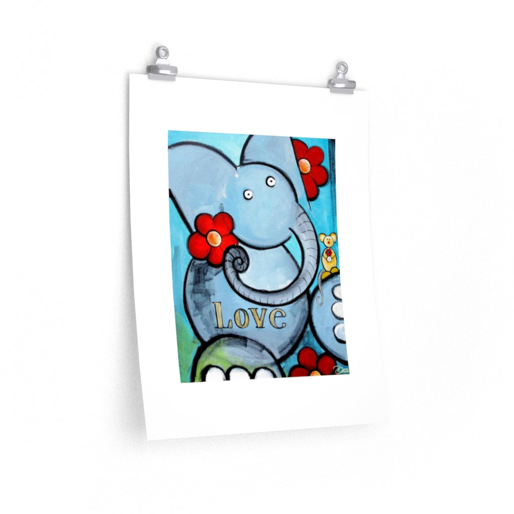 Elephant Love Print on Enhanced Art Paper - Colorful Animal, Aviation, whimsical, Airstream, Quotes Art Kids, Pediatrics, Happy Art