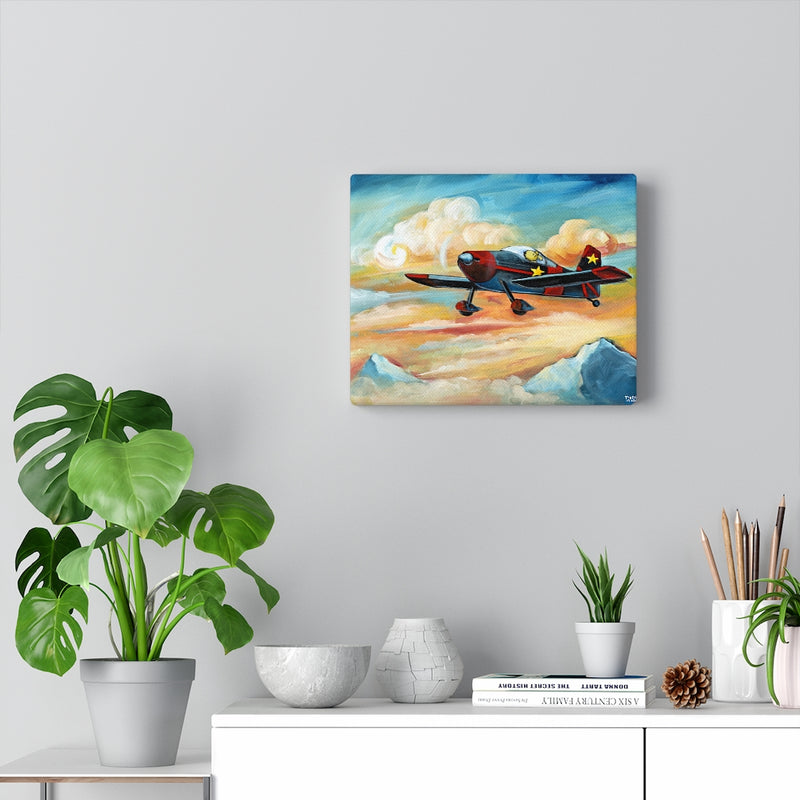 Flying Dreams (Pilot Dog) Canvas Gallery Wrap