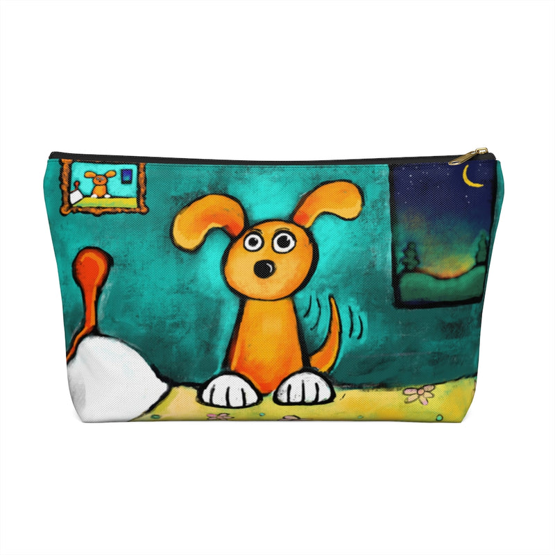 Happy Dog on Bed Accessory Pouch w T-bottom