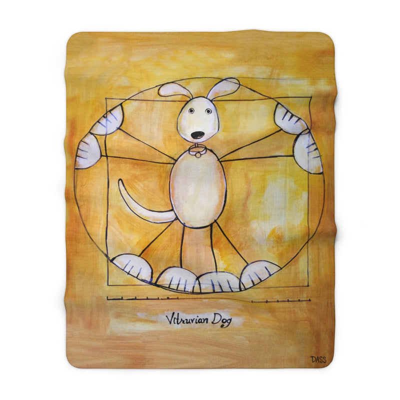 Vitruvian Dog Sherpa Fleece Blanket