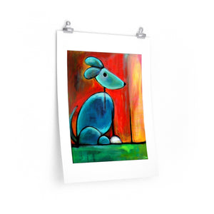 Blue Dog Enhanced Paper Art Print - Colorful Animal, Aviation, whimsical, Airstream, Quotes Art Kids, Pediatrics, Happy Art