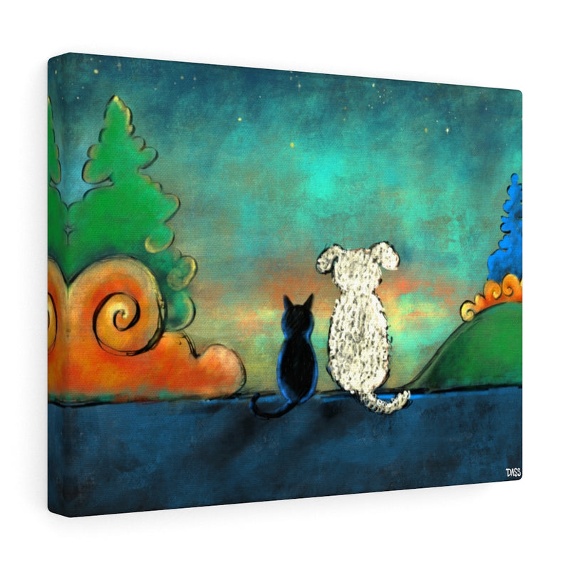 Friendship (Dog and Cat) Canvas Gallery Wraps