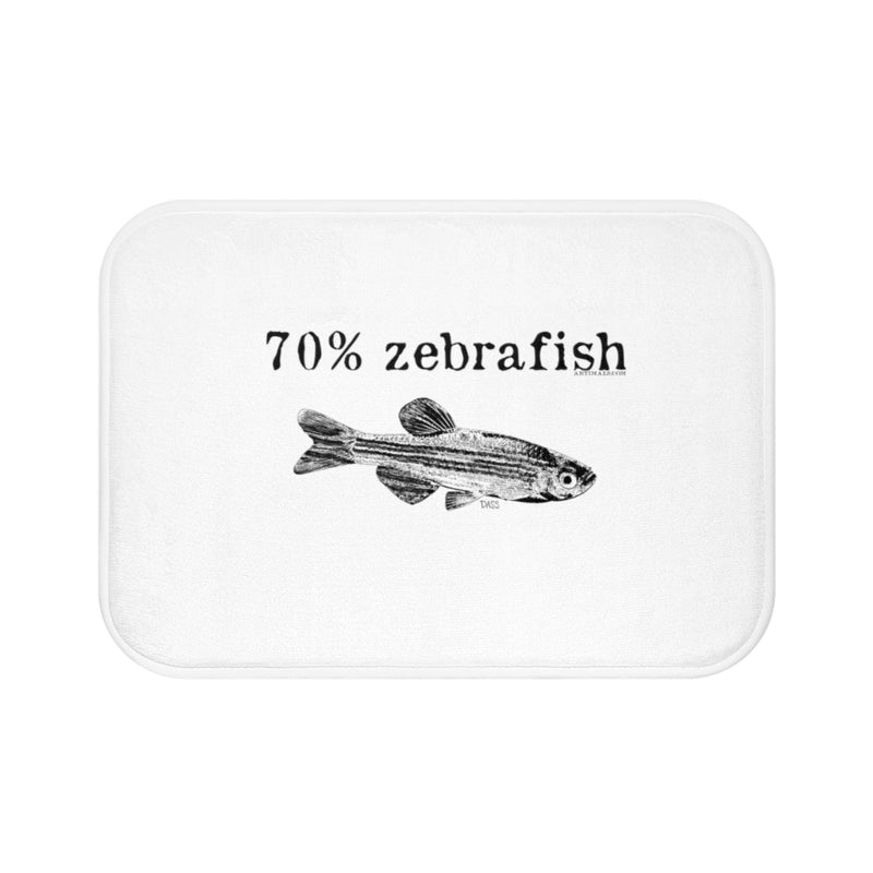 70% Zebrafish White Plush Bath Mat