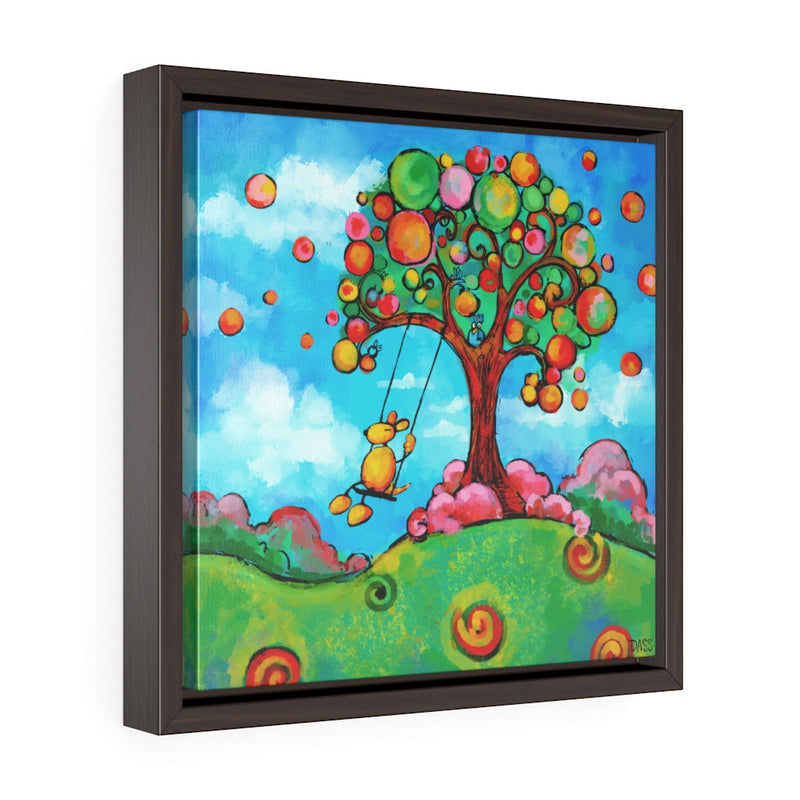 A Perfect Day (dog on swing) Framed Gallery Wrap Canvas