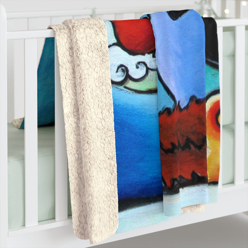 Cat Thinking of You Sherpa Fleece Blanket