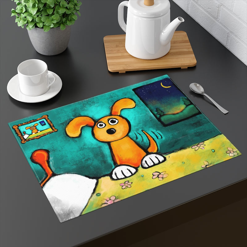 Happy Dog on Bed Dog Placemat