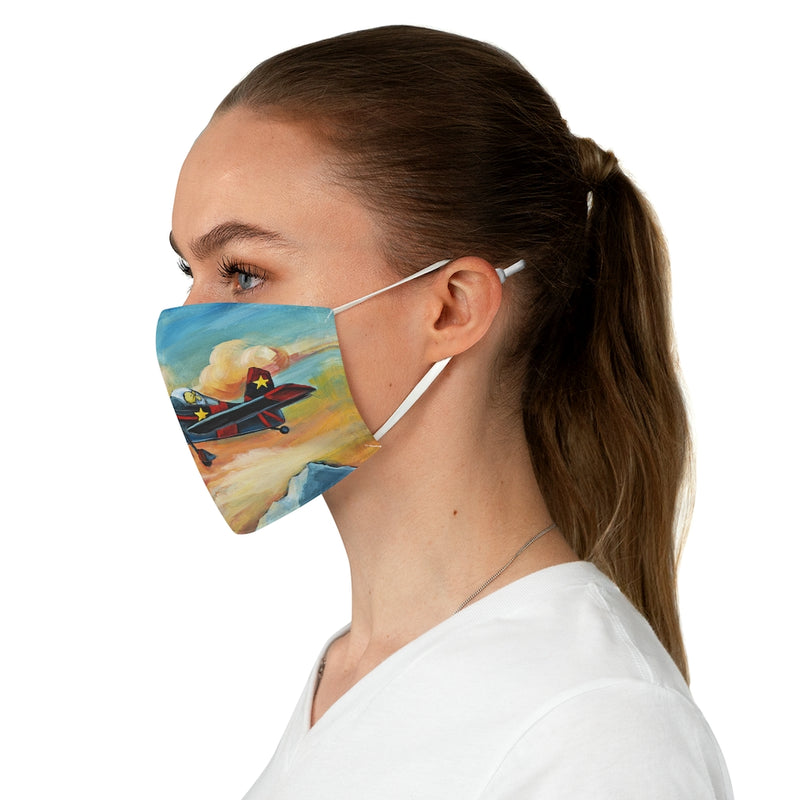 Airplane Aviation Pilot Dog Flying Dreams Fabric Face Mask