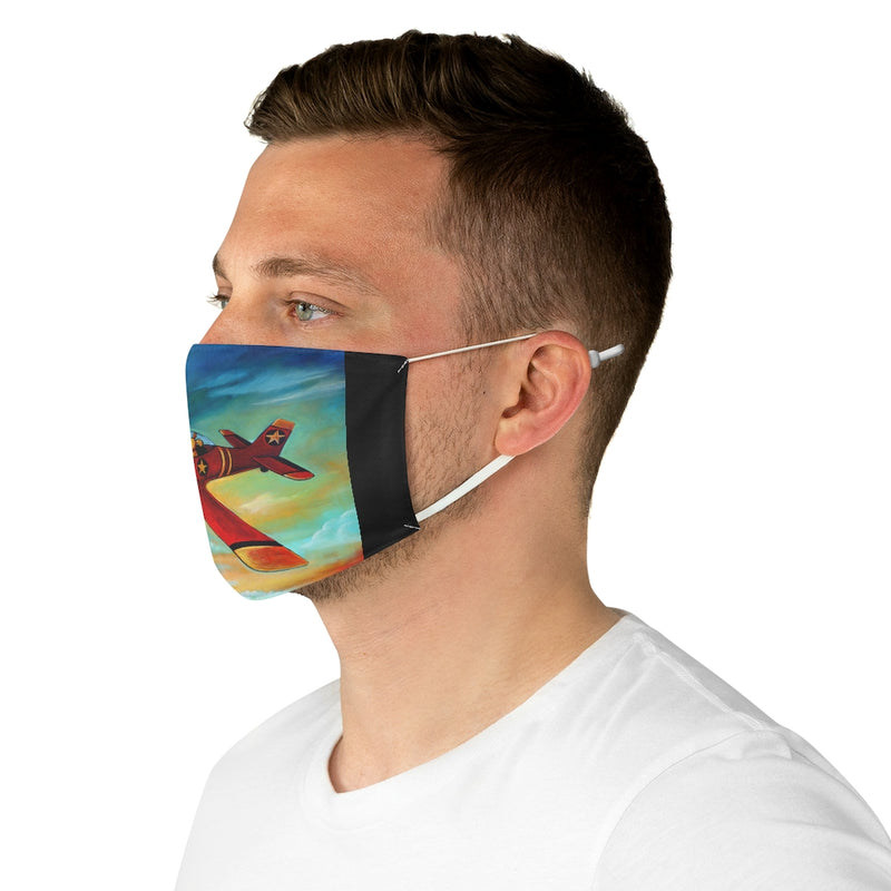 Pilot Dog over Spokane Fabric Face Mask