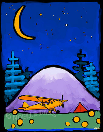 Adventure Awaits Cub and Tent in Mountains Under Stars and Moon