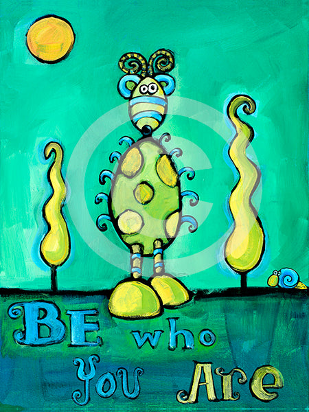 Be Who You Are - Colorful Animal, Aviation, whimsical, Airstream, Quotes Art Kids, Pediatrics, Happy Art