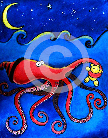 Bedtime Octopus Art - Colorful Animal, Aviation, whimsical, Airstream, Quotes Art Kids, Pediatrics, Happy Art