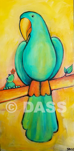 Friendship Series Frog and Bird - Colorful Animal, Aviation, whimsical, Airstream, Quotes Art Kids, Pediatrics, Happy Art
