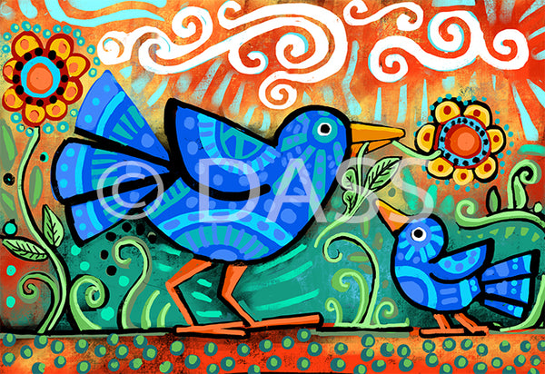 Mama and Baby Bird - Colorful Animal, Aviation, whimsical, Airstream, Quotes Art Kids, Pediatrics, Happy Art