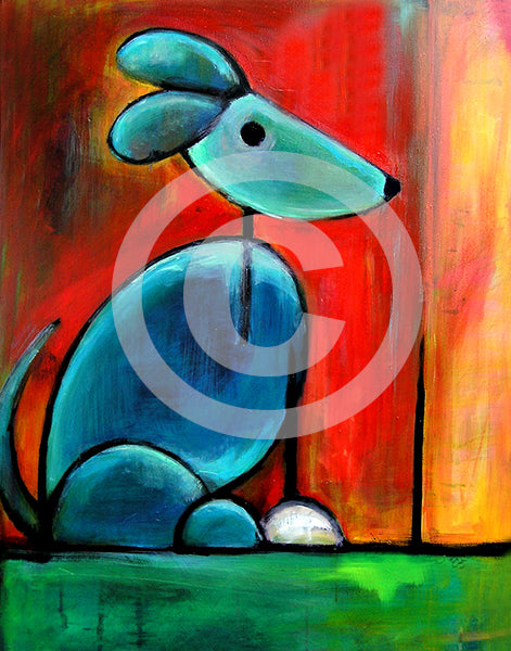 Blue Dog - Colorful Animal, Aviation, whimsical, Airstream, Quotes Art Kids, Pediatrics, Happy Art
