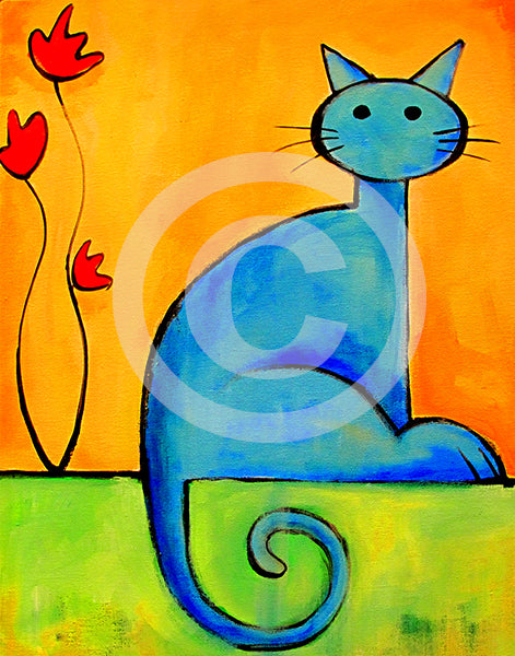 Cat with Flower - Colorful Animal, Aviation, whimsical, Airstream, Quotes Art Kids, Pediatrics, Happy Art