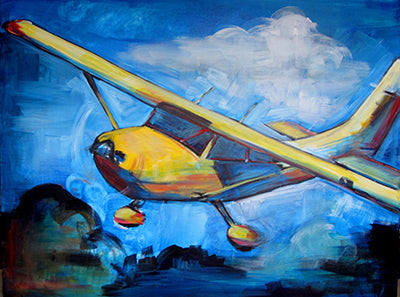 Into the Blue Cessna 172 36 x 48 x 1.5 inch original  painting - Colorful Animal, Aviation, whimsical, Airstream, Quotes Art Kids, Pediatrics, Happy Art