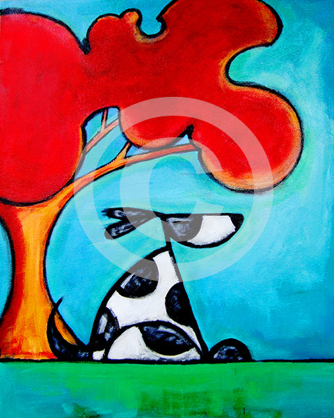 Cool Dog Under Shade Tree - Colorful Animal, Aviation, whimsical, Airstream, Quotes Art Kids, Pediatrics, Happy Art