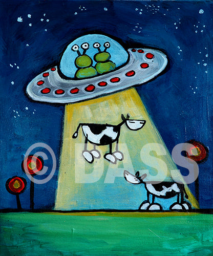 Got Milk?! UFO abducting Cow Art - Colorful Animal, Aviation, whimsical, Airstream, Quotes Art Kids, Pediatrics, Happy Art