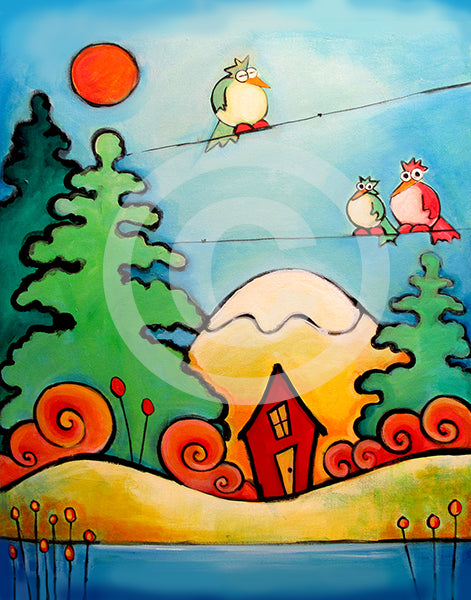 Birds with Cabin in the Woods - Colorful Animal, Aviation, whimsical, Airstream, Quotes Art Kids, Pediatrics, Happy Art