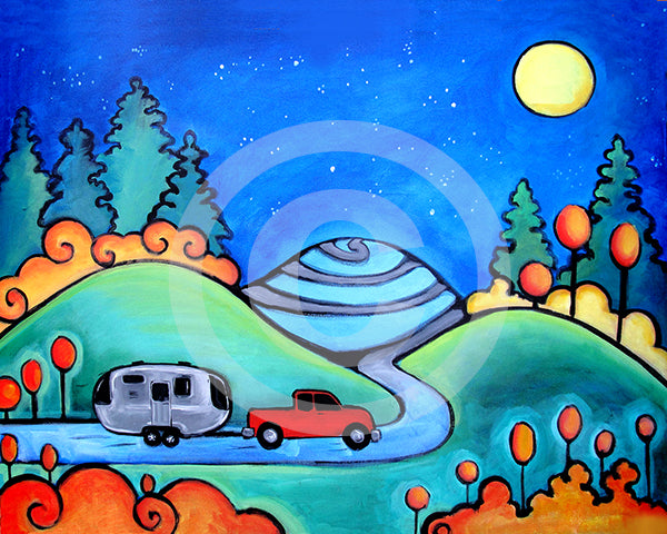 Follow Your Dreams Camping Airstream Art - Colorful Animal, Aviation, whimsical, Airstream, Quotes Art Kids, Pediatrics, Happy Art