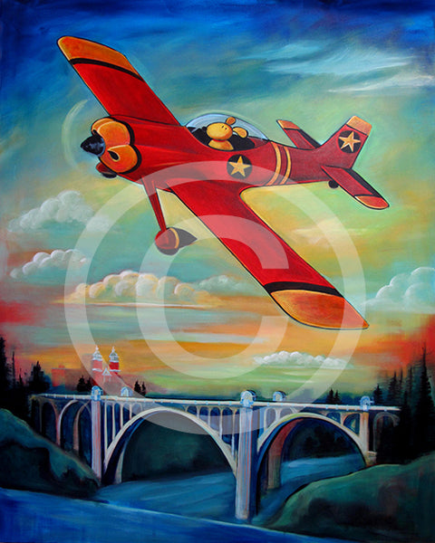 Pilot Dog over Spokane - Colorful Animal, Aviation, whimsical, Airstream, Quotes Art Kids, Pediatrics, Happy Art