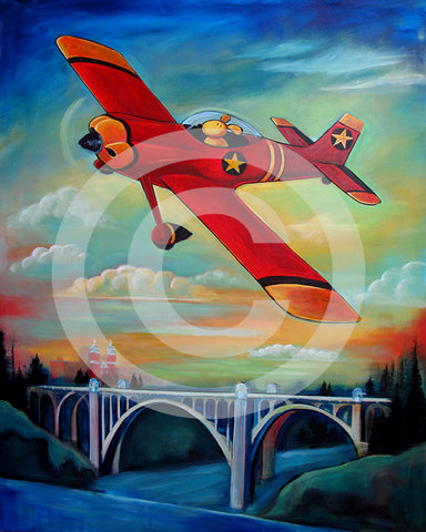 Pilot Dog over Spokane original painting 48 x 60 x 1.5 inches - Colorful Animal, Aviation, whimsical, Airstream, Quotes Art Kids, Pediatrics, Happy Art