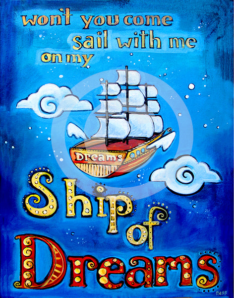 Ship of Dreams - Colorful Animal, Aviation, whimsical, Airstream, Quotes Art Kids, Pediatrics, Happy Art