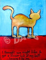 A Closer Look at My Cat Butt Original Painting 18x24 inches - Colorful Animal, Aviation, whimsical, Airstream, Quotes Art Kids, Pediatrics, Happy Art
