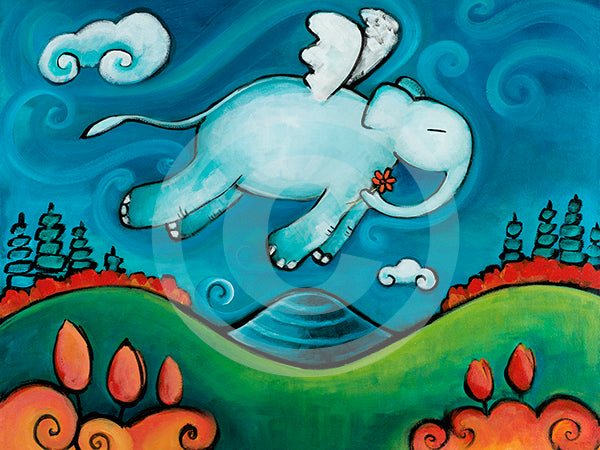 Looking for you Elephant Art - Colorful Animal, Aviation, whimsical, Airstream, Quotes Art Kids, Pediatrics, Happy Art