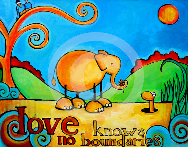 Love Knows No Boundaries Elephant Art - Colorful Animal, Aviation, whimsical, Airstream, Quotes Art Kids, Pediatrics, Happy Art
