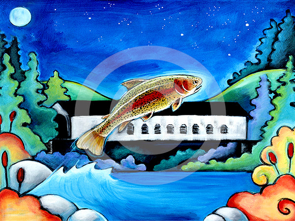 Catch me if you can! Fish Art - Colorful Animal, Aviation, whimsical, Airstream, Quotes Art Kids, Pediatrics, Happy Art