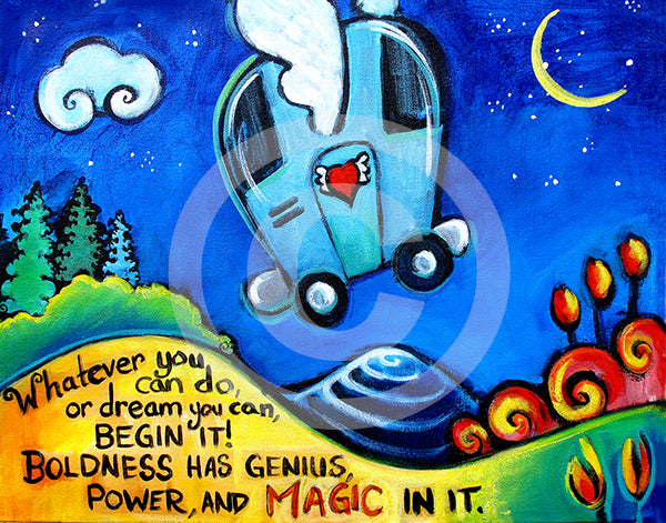 Boldness has Magic in It Goethe Quote with airstream - Colorful Animal, Aviation, whimsical, Airstream, Quotes Art Kids, Pediatrics, Happy Art