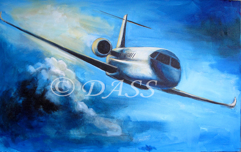 Gulfstream G650 36 x 48 x 1.5 in. original painting - Colorful Animal, Aviation, whimsical, Airstream, Quotes Art Kids, Pediatrics, Happy Art
