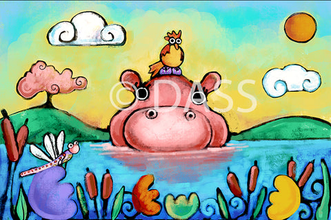 HIPPO, BIRD AND DRAGONFLY, FRIENDSHIP SERIES - Colorful Animal, Aviation, whimsical, Airstream, Quotes Art Kids, Pediatrics, Happy Art