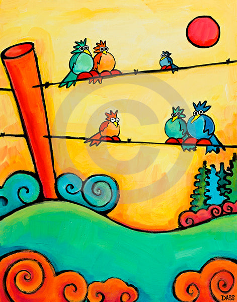 Lazy Birds on Fence - Colorful Animal, Aviation, whimsical, Airstream, Quotes Art Kids, Pediatrics, Happy Art