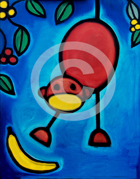 I Dropped My Banana original oil Painting - Colorful Animal, Aviation, whimsical, Airstream, Quotes Art Kids, Pediatrics, Happy Art