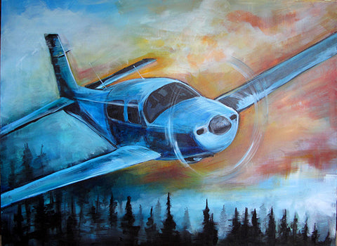 Mooney Madness Original 30x40 Painting - Colorful Animal, Aviation, whimsical, Airstream, Quotes Art Kids, Pediatrics, Happy Art