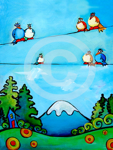 Mountain Birdscape - Colorful Animal, Aviation, whimsical, Airstream, Quotes Art Kids, Pediatrics, Happy Art
