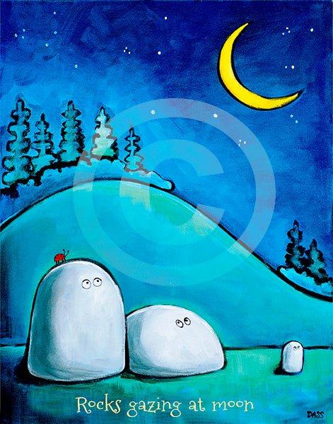 Rocks Gazing at Moon - Colorful Animal, Aviation, whimsical, Airstream, Quotes Art Kids, Pediatrics, Happy Art