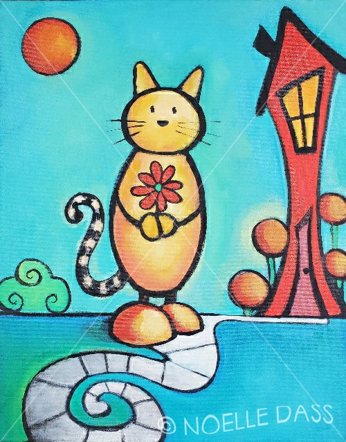 Home is with my cat. Original Painting 16x20 inches