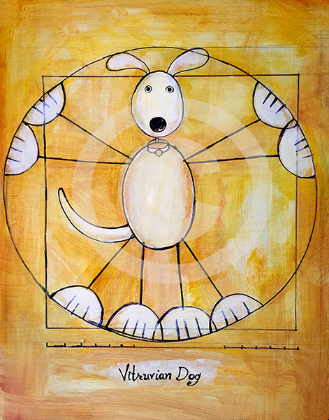 Vitruvian Dog Da Vinci Dog - Colorful Animal, Aviation, whimsical, Airstream, Quotes Art Kids, Pediatrics, Happy Art