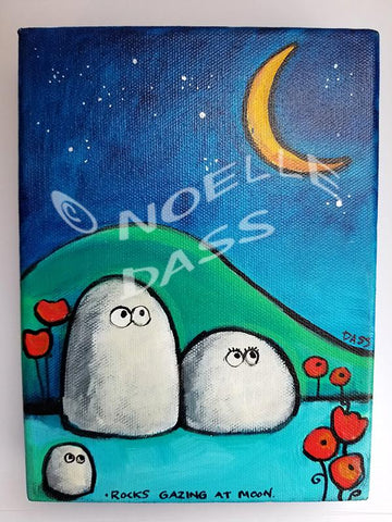 Daily Painting #15 Rocks Gazing at Moon SOLD