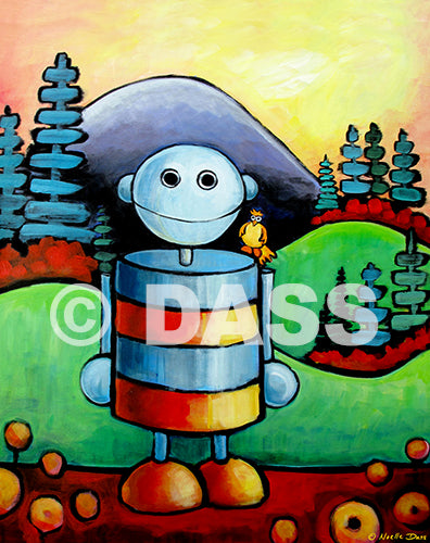 I will not be assimilated (Robot in nature) Original Painting - Colorful Animal, Aviation, whimsical, Airstream, Quotes Art Kids, Pediatrics, Happy Art