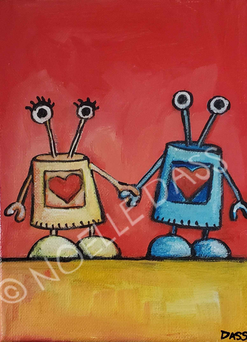 I would love you even if I wasn't programmed to! - Colorful Animal, Aviation, whimsical, Airstream, Quotes Art Kids, Pediatrics, Happy Art