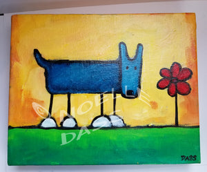 Daily Painting #5 Dog with Flower SOLD