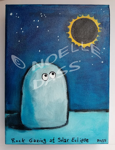 Daily Painting #9 Rock Gazing at Solar Eclipse SOLD