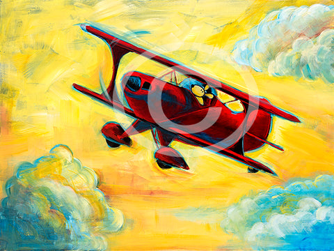 Fun in the Sky Pitts Biplane Pilot Dog Series 24 x 30 x 1.5 in. Original Painting - Colorful Animal, Aviation, whimsical, Airstream, Quotes Art Kids, Pediatrics, Happy Art