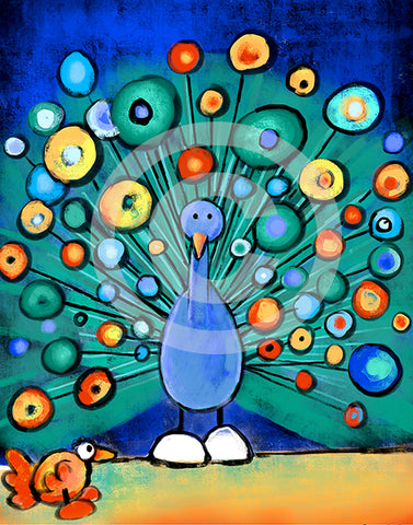 Peacock Wooing Chicken - Colorful Animal, Aviation, whimsical, Airstream, Quotes Art Kids, Pediatrics, Happy Art
